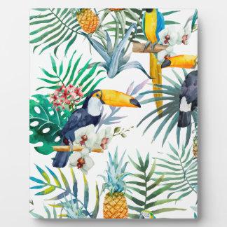 Tropical summer Pineapple Parrot Bird watercolor Plaque