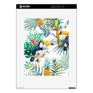 Tropical summer Pineapple Parrot Bird watercolor Skins For The iPad