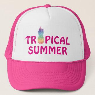 Tropical summer pineapple pink girl's trucker hat
