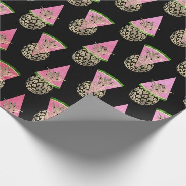Beach Themed Tropical summer pineapple watermelon gold black wrapping paper
