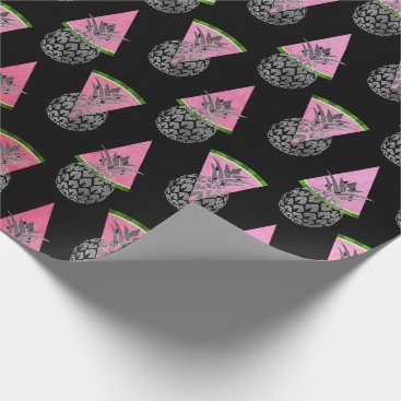 Beach Themed Tropical summer pineapple watermelon silver black wrapping paper