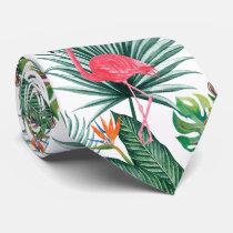 Tropical summer Pink Flamingo   Zebra watercolor Tie
