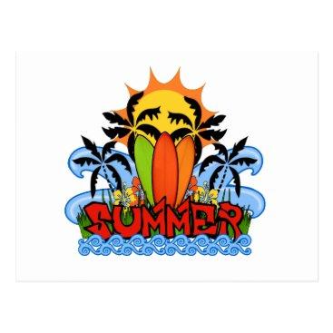 Beach Themed Tropical summer postcard