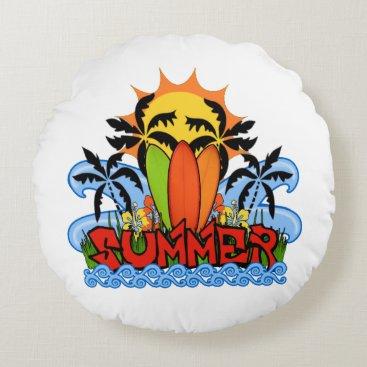 Beach Themed Tropical summer round pillow