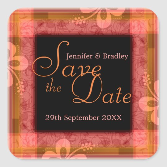 Tropical Summer Save the Date Square Sticker