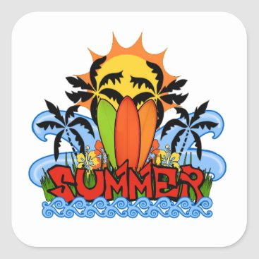 Beach Themed Tropical summer square sticker