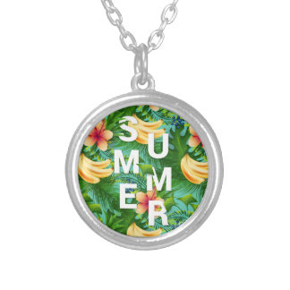 Tropical summer text on banana flowers background silver plated necklace