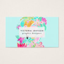 Tropical summer watercolor flamingo pineapple business card