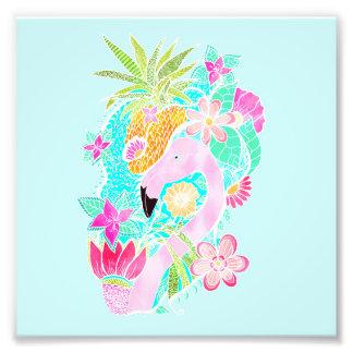 Tropical summer watercolor flamingo pineapple photo print