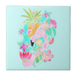 Tropical summer watercolor flamingo pineapple small square tile