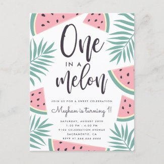 Tropical Summer Watermelon One In A Melon Birthday Invitation Postcard