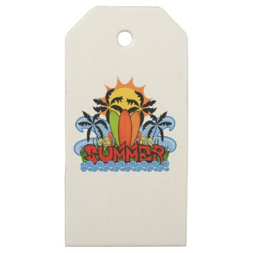 Beach Themed Tropical summer wooden gift tags