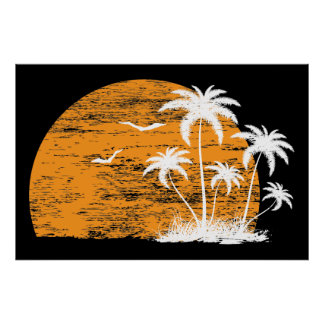 Tropical sun, palm trees and birds poster print