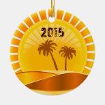 Tropical Sunburst Beach Personalized Ornament