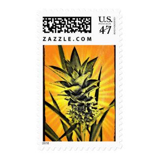 Tropical Sunburst Pineapple Plant Stamp