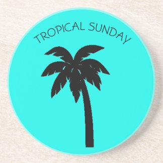 TROPICAL SUNDAY PALM TREE SOAPSTONE COASTER
