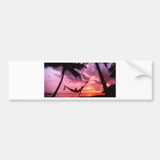 Tropical Sunrise In A Hammock Car Bumper Sticker