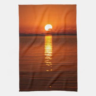 Tropical Sunrise in Orange Hand Towel