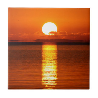 Tropical Sunrise in Orange Tile