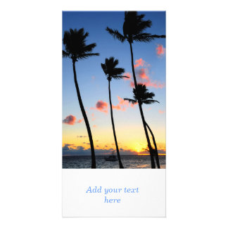 Tropical sunrise photo card template