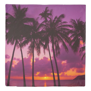 Tropical Sunset 1 (1 Side) Queen Duvet Cover at Zazzle