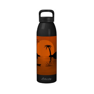 Tropical Sunset Art Reusable Water Bottle