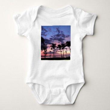 Beach Themed Tropical Sunset Baby Bodysuit