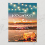 """Tropical Sunset Beach Birthday Party Invitation<br><div class=""""desc"""">Summer beach birthday party invitations featuring a sunset tropical beach island background, a mason jar with sparkling lights, string twinkle lights and a ceebration text template. Click on the """"Customize it"""" button for further personalization of this template. You will be able to modify all text, including the style, colors, and...</div>"""