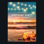 "Tropical Sunset Beach Birthday Party Invitation<br><div class=""desc"">Summer beach birthday party invitations featuring a sunset tropical beach island background, a mason jar with sparkling lights, string twinkle lights and a ceebration text template. Click on the ""Customize it"" button for further personalization of this template. You will be able to modify all text, including the style, colors, and...</div>"