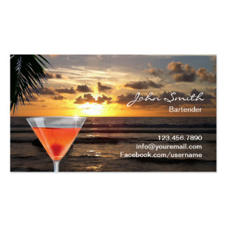 Tropical Sunset Beach Cocktail Bartender Double-Sided Standard Business Cards (Pack Of 100)