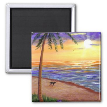 Beach Themed Tropical Sunset Beach Dog by Creationarts Magnet