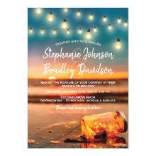 Tropical Sunset Beach Mason Jar Lights Wedding