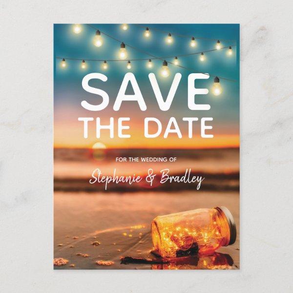 Tropical Sunset Beach Mason Jar Save the Date Announcement Postcard