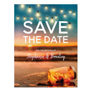 Tropical Sunset Beach Mason Jar Save the Date Postcard