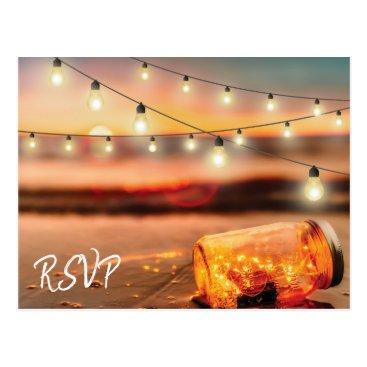 special_stationery Tropical Sunset Beach Mason Jar Wedding Response Postcard