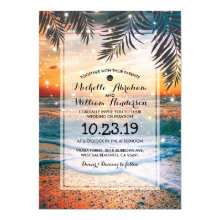 Tropical Sunset Beach Twinkle Lights Wedding