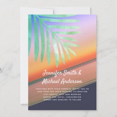 Tropical Sunset Beach Wedding Invites Budget