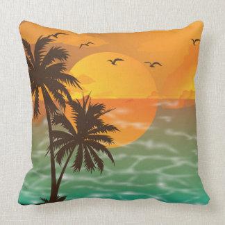 Tropical Sunset Beautiful Scenery Throw Pillow