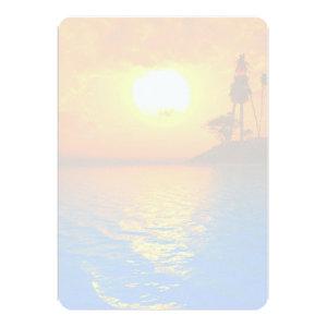 Tropical Sunset Blank Wedding Fan Program Paper Announcements