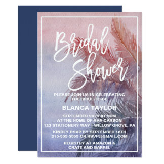 Tropical Sunset Bridal Shower Card