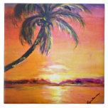 "Tropical Sunset Ceramic Tile<br><div class=""desc"">Tropical Sunset painting ceramic tile.</div>"