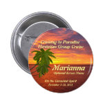 Tropical Sunset Cruise Name Badge Pinback Button