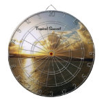 Tropical sunset dartboard with darts