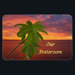 "Tropical Sunset Door Marker Magnet<br><div class=""desc"">Stateroom Door Marker magnet for your cruise to a tropical destination... perhaps the Caribbean, or Hawaii! Makes a wonderful souvenir afterwards. Cruise Ships keep getting bigger and bigger. The hallways have longer and longer rows of cabin doors that all look alike! Mark YOUR stateroom door with a Staterooom Door Marker,...</div>"