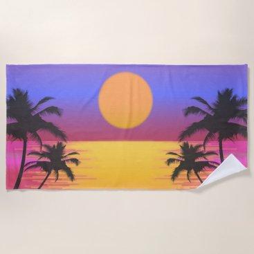 Beach Themed Tropical Sunset Graphic Beach Towel