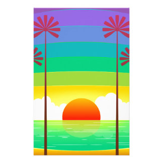 TROPICAL SUNSET GRAPHIC VACATION TRAVEL PALM TREES STATIONERY