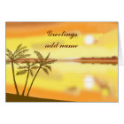 Tropical sunset, greetings, customize text card