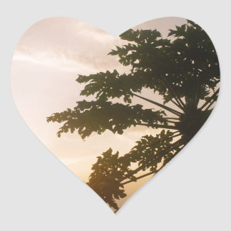 tropical sunset in costa rica heart sticker