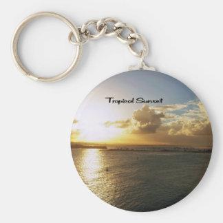 Tropical sunset keychain