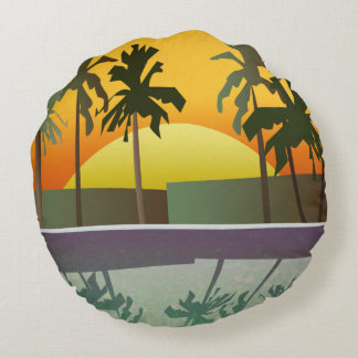 Tropical Sunset Landscape, Palm Trees Round Pillow